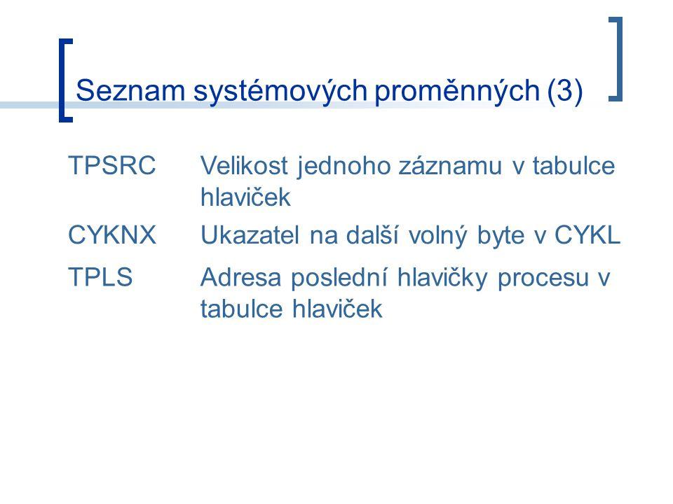 Seznam systémových proměnných (3) TPSRCVelikost jednoho záznamu v tabulce hlaviček CYKNXUkazatel na další volný byte v CYKL TPLSAdresa poslední hlavičky procesu v tabulce hlaviček