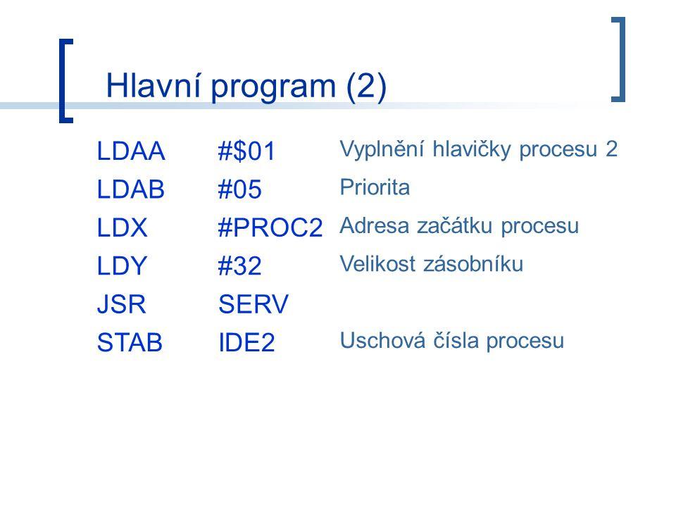 LDAA#$01 Vyplnění hlavičky procesu 2 LDAB#05 Priorita LDX#PROC2 Adresa začátku procesu LDY#32 Velikost zásobníku JSRSERV STABIDE2 Uschová čísla procesu Hlavní program (2)