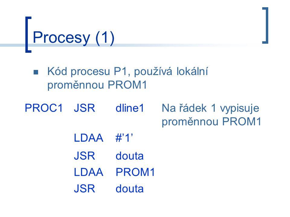 Procesy (1) Kód procesu P1, používá lokální proměnnou PROM1 PROC1JSRdline1Na řádek 1 vypisuje proměnnou PROM1 LDAA#'1' JSRdouta LDAAPROM1 JSRdouta