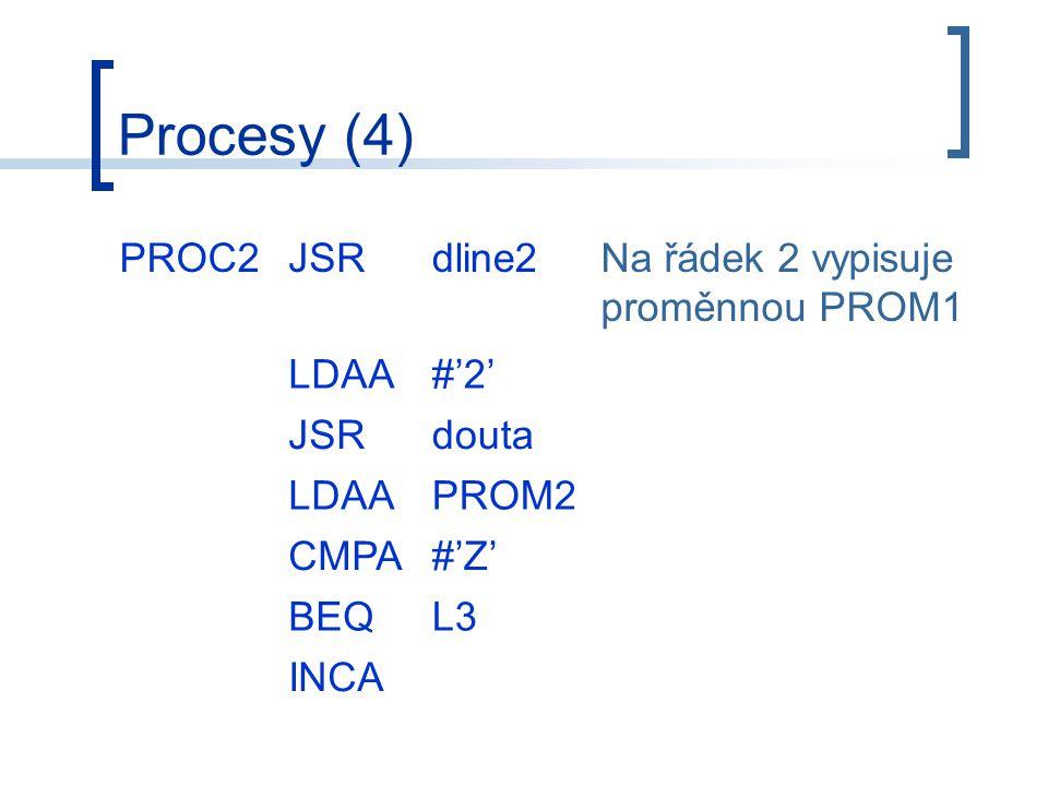 Procesy (4) PROC2JSRdline2Na řádek 2 vypisuje proměnnou PROM1 LDAA#'2' JSRdouta LDAAPROM2 CMPA#'Z' BEQL3 INCA