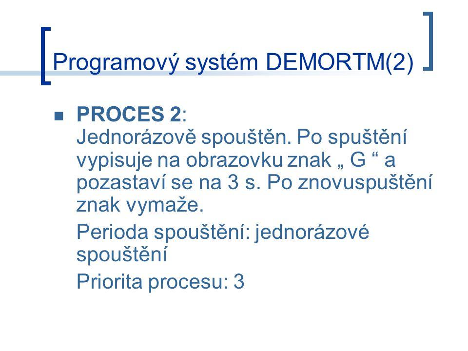 """PROCES 2: Jednorázově spouštěn.Po spuštění vypisuje na obrazovku znak """" G a pozastaví se na 3 s."""