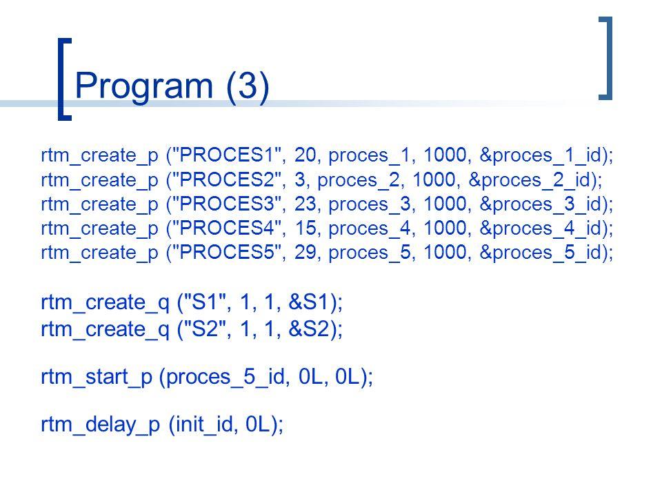 Program (3) rtm_create_p ( PROCES1 , 20, proces_1, 1000, &proces_1_id); rtm_create_p ( PROCES2 , 3, proces_2, 1000, &proces_2_id); rtm_create_p ( PROCES3 , 23, proces_3, 1000, &proces_3_id); rtm_create_p ( PROCES4 , 15, proces_4, 1000, &proces_4_id); rtm_create_p ( PROCES5 , 29, proces_5, 1000, &proces_5_id); rtm_create_q ( S1 , 1, 1, &S1); rtm_create_q ( S2 , 1, 1, &S2); rtm_start_p (proces_5_id, 0L, 0L); rtm_delay_p (init_id, 0L);