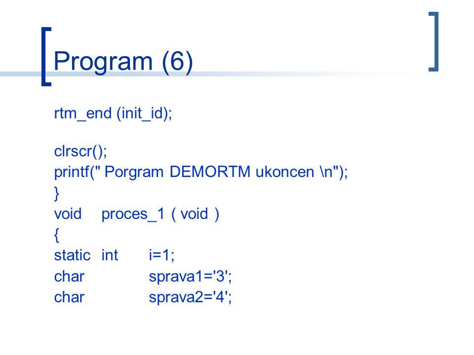 Program (6) rtm_end (init_id); clrscr(); printf( Porgram DEMORTM ukoncen \n ); } voidproces_1 ( void ) { staticinti=1; charsprava1= 3 ; charsprava2= 4 ;