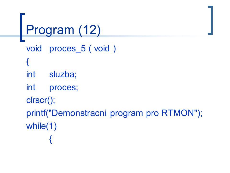 Program (12) voidproces_5 ( void ) { intsluzba; intproces; clrscr(); printf( Demonstracni program pro RTMON ); while(1) {
