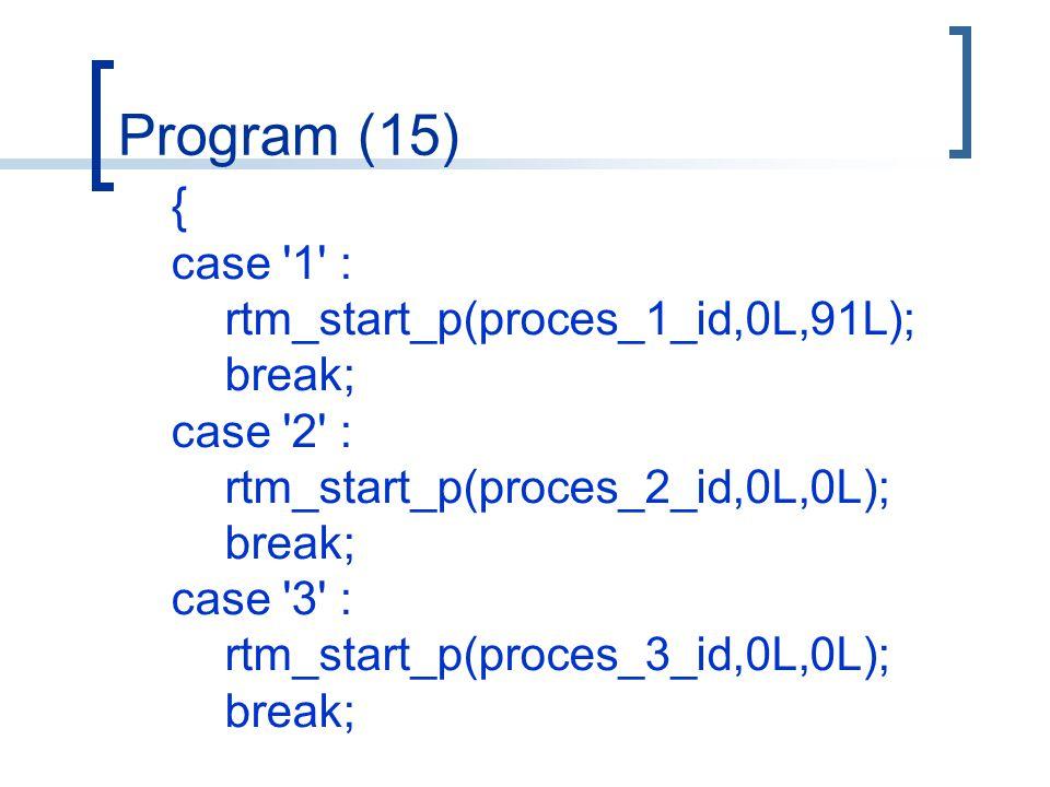 Program (15) { case 1 : rtm_start_p(proces_1_id,0L,91L); break; case 2 : rtm_start_p(proces_2_id,0L,0L); break; case 3 : rtm_start_p(proces_3_id,0L,0L); break;