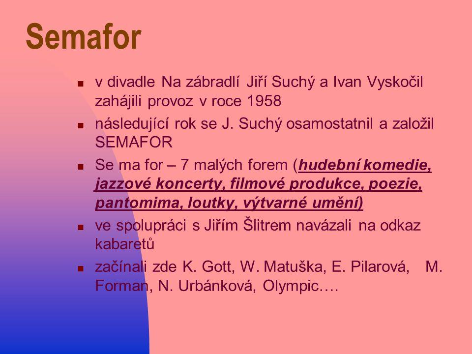 v divadle Na zábradlí Jiří Suchý a Ivan Vyskočil zahájili provoz v roce 1958 následující rok se J.