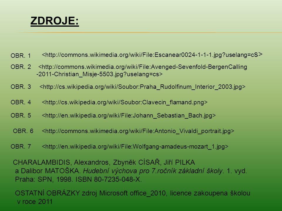 ZDROJE: OBR. 1 <http://commons.wikimedia.org/wiki/File:Avenged-Sevenfold-BergenCalling -2011-Christian_Misje-5503.jpg?uselang=cs> OBR. 2 OBR. 3 OBR. 4