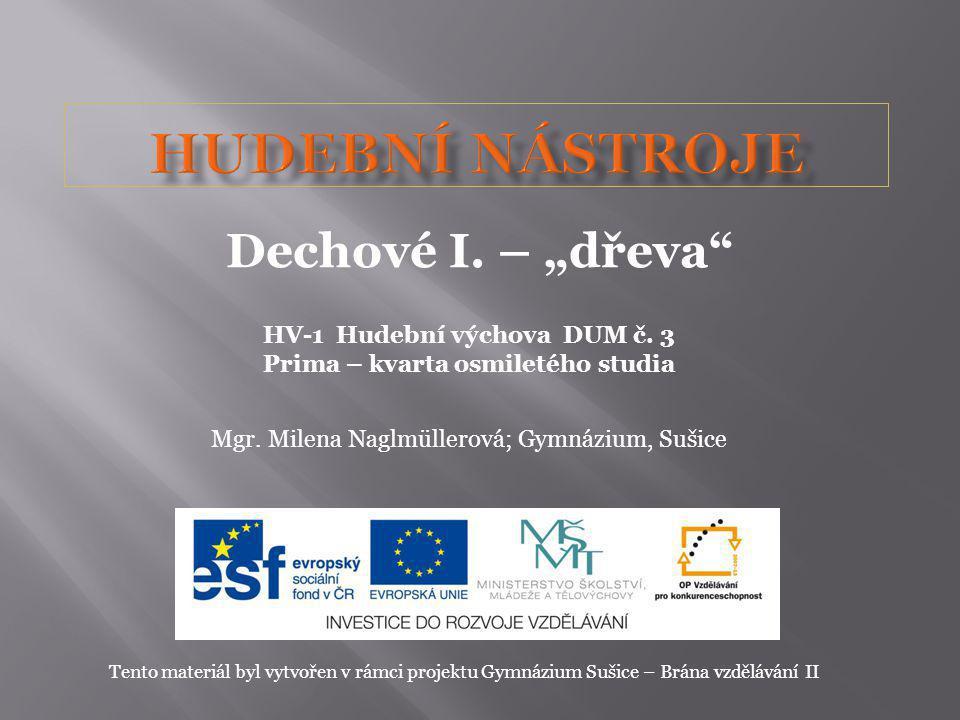 HV-1 Hudební výchova DUM č. 3 Prima – kvarta osmiletého studia Mgr. Milena Naglmüllerová; Gymnázium, Sušice Tento materiál byl vytvořen v rámci projek
