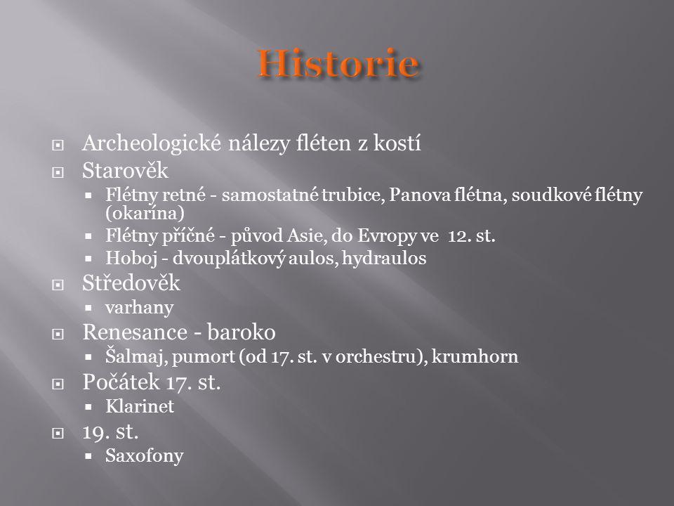  Archeologické nálezy fléten z kostí  Starověk  Flétny retné - samostatné trubice, Panova flétna, soudkové flétny (okarína)  Flétny příčné - původ