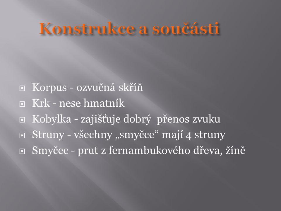 """ Korpus - ozvučná skříň  Krk - nese hmatník  Kobylka - zajišťuje dobrý přenos zvuku  Struny - všechny """"smyčce"""" mají 4 struny  Smyčec - prut z fer"""