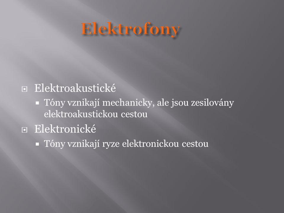  Elektroakustické  Tóny vznikají mechanicky, ale jsou zesilovány elektroakustickou cestou  Elektronické  Tóny vznikají ryze elektronickou cestou