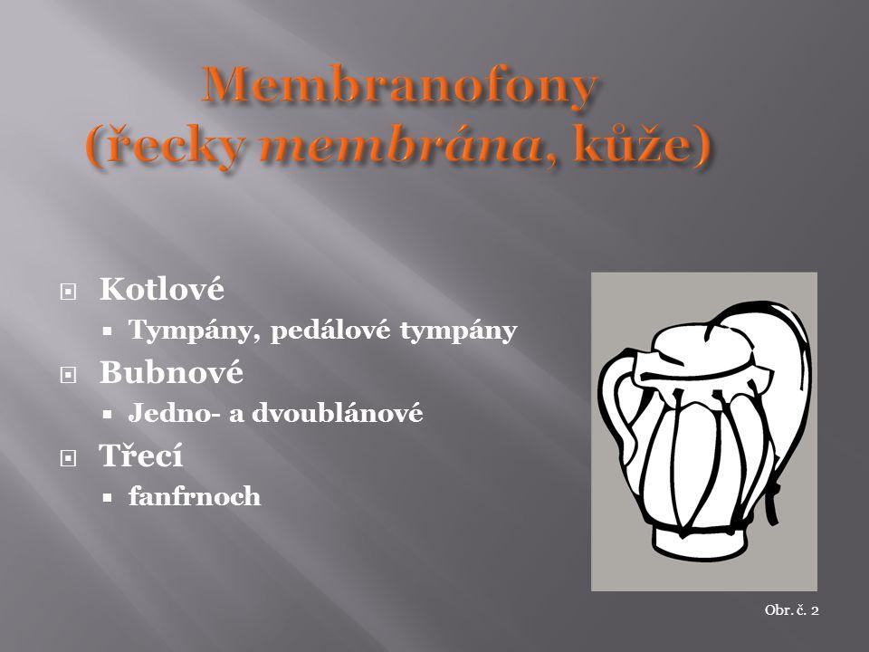  Kotlové  Tympány, pedálové tympány  Bubnové  Jedno- a dvoublánové  Třecí  fanfrnoch Obr. č. 2