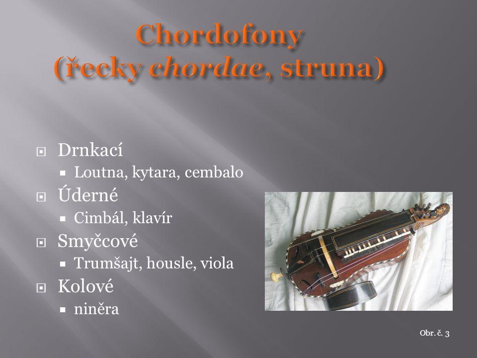  Drnkací  Loutna, kytara, cembalo  Úderné  Cimbál, klavír  Smyčcové  Trumšajt, housle, viola  Kolové  niněra Obr. č. 3