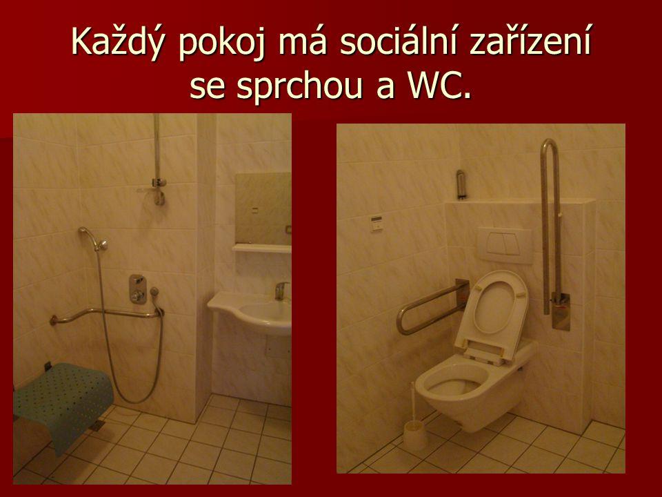 Každý pokoj má sociální zařízení se sprchou a WC.