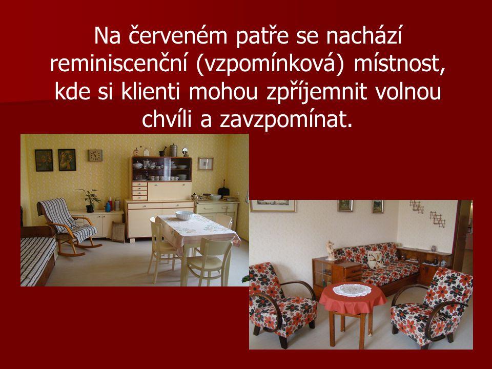 Na červeném patře se nachází reminiscenční (vzpomínková) místnost, kde si klienti mohou zpříjemnit volnou chvíli a zavzpomínat.