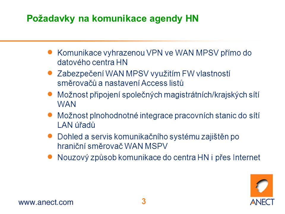 3 Požadavky na komunikace agendy HN Komunikace vyhrazenou VPN ve WAN MPSV přímo do datového centra HN Zabezpečení WAN MPSV využitím FW vlastností směrovačů a nastavení Access listů Možnost připojení společných magistrátních/krajských sítí WAN Možnost plnohodnotné integrace pracovních stanic do sítí LAN úřadů Dohled a servis komunikačního systému zajištěn po hraniční směrovač WAN MSPV Nouzový způsob komunikace do centra HN i přes Internet