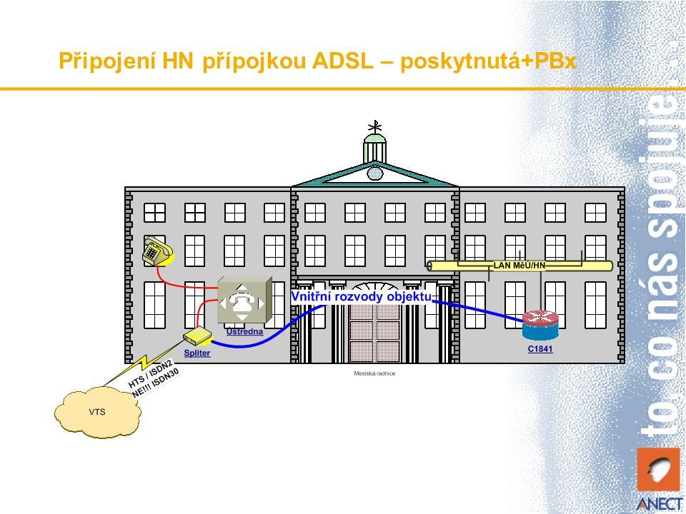 Připojení HN přípojkou ADSL – poskytnutá+PBx