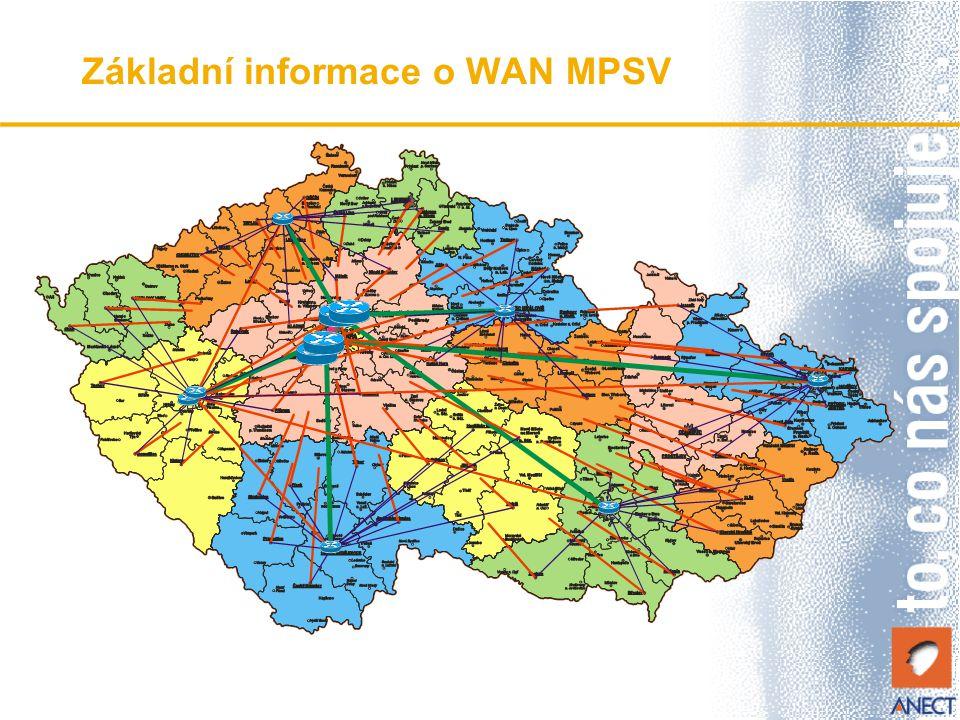 Požadavky na komunikace agendy HN Komunikace vyhrazenou VPN ve WAN MPSV přímo do datového centra HN Zabezpečení WAN MPSV využitím FW vlastností směrovačů a nastavení Access listů Možnost připojení společných magistrátních/krajských sítí WAN Možnost plnohodnotné integrace pracovních stanic do sítí LAN úřadů Dohled a servis komunikačního systému zajištěn po hraniční směrovač WAN MSPV Nouzový způsob komunikace do centra HN i přes Internet