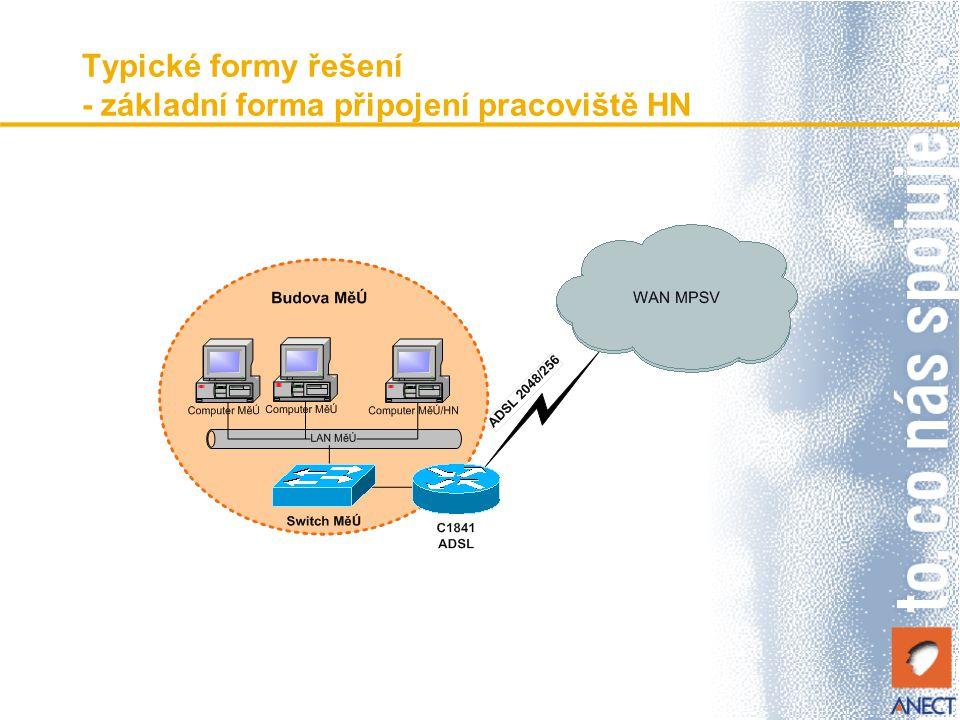 Typické formy řešení - základní forma připojení pracoviště HN