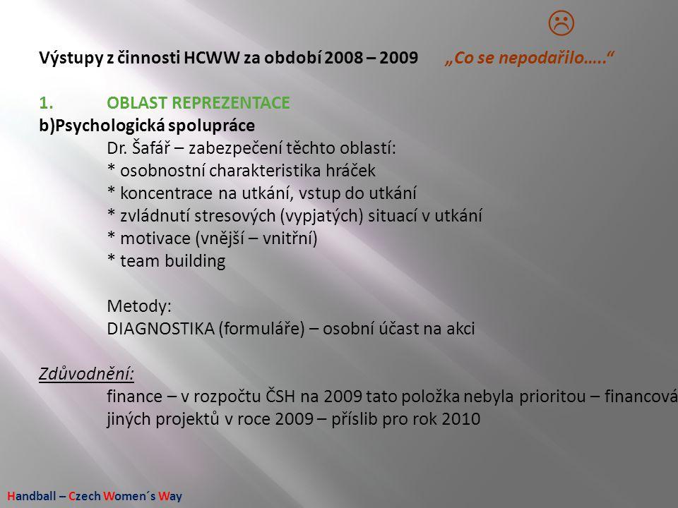 """Handball – Czech Women´s Way Výstupy z činnosti HCWW za období 2008 – 2009 """"Co se nepodařilo….."""" 1.OBLAST REPREZENTACE b)Psychologická spolupráce Dr."""