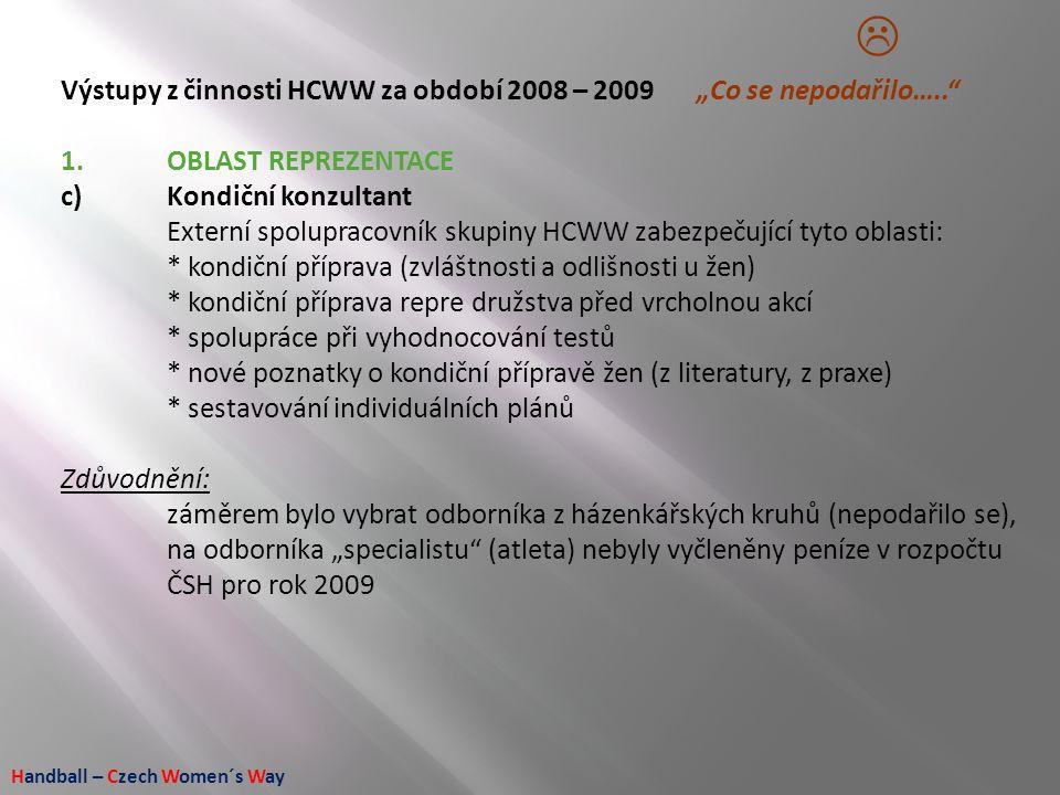 """Handball – Czech Women´s Way Výstupy z činnosti HCWW za období 2008 – 2009 """"Co se nepodařilo….."""" 1.OBLAST REPREZENTACE c)Kondiční konzultant Externí s"""
