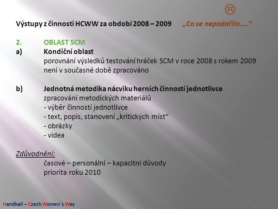 """Handball – Czech Women´s Way Výstupy z činnosti HCWW za období 2008 – 2009 """"Co se nepodařilo….."""" 2.OBLAST SCM a)Kondiční oblast porovnání výsledků tes"""