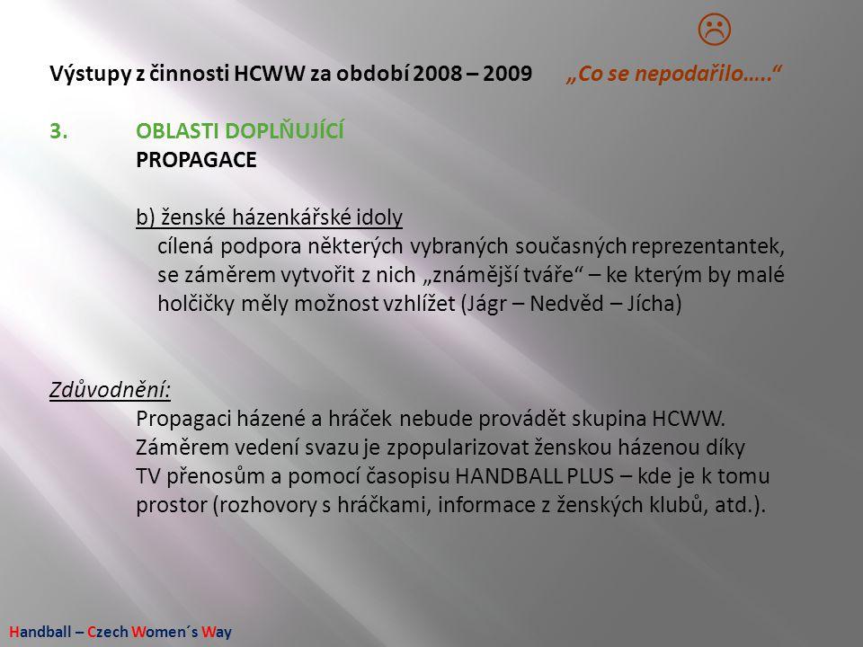 """Handball – Czech Women´s Way Výstupy z činnosti HCWW za období 2008 – 2009 """"Co se nepodařilo….."""" 3.OBLASTI DOPLŇUJÍCÍ PROPAGACE b) ženské házenkářské"""