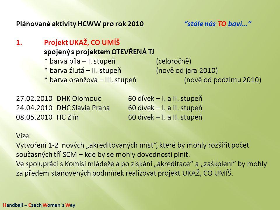 """Handball – Czech Women´s Way Plánované aktivity HCWW pro rok 2010""""stále nás TO baví…"""" 1. Projekt UKAŽ, CO UMÍŠ spojený s projektem OTEVŘENÁ TJ * barva"""
