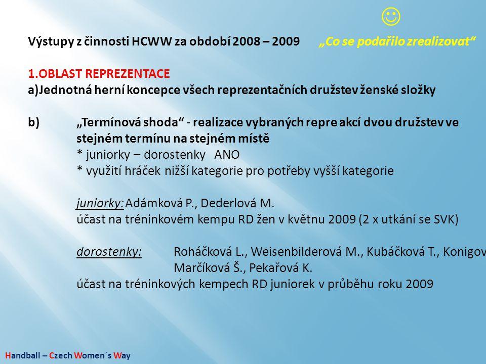 """Handball – Czech Women´s Way Výstupy z činnosti HCWW za období 2008 – 2009""""Co se podařilo zrealizovat"""" 1.OBLAST REPREZENTACE a)Jednotná herní koncepce"""