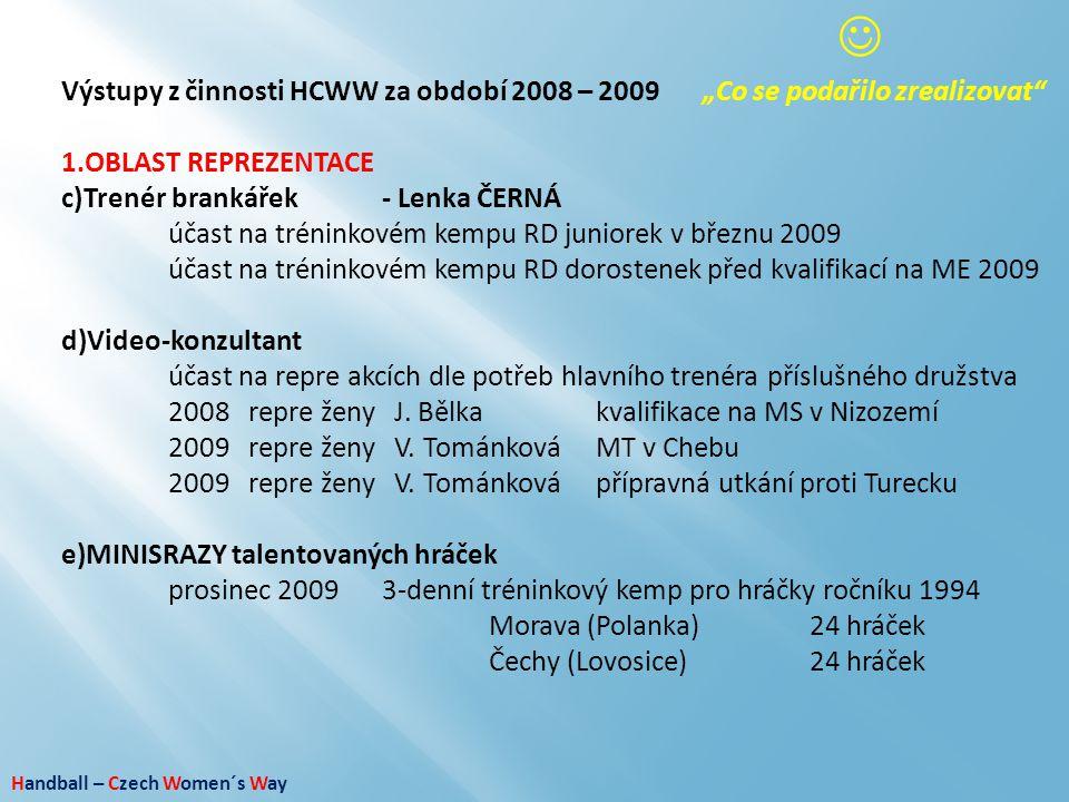 """Handball – Czech Women´s Way Výstupy z činnosti HCWW za období 2008 – 2009""""Co se podařilo zrealizovat"""" 1.OBLAST REPREZENTACE c)Trenér brankářek- Lenka"""