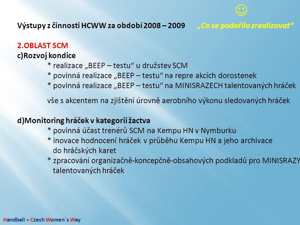 """Handball – Czech Women´s Way Výstupy z činnosti HCWW za období 2008 – 2009""""Co se podařilo zrealizovat"""" 2.OBLAST SCM c)Rozvoj kondice * realizace """"BEEP"""