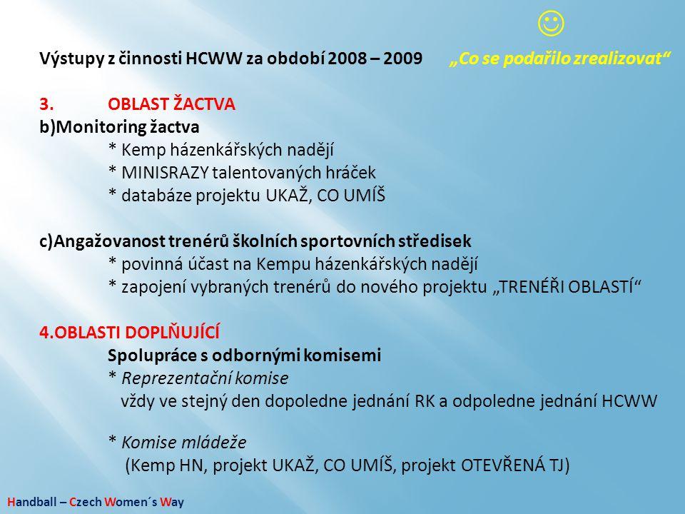 """Handball – Czech Women´s Way Výstupy z činnosti HCWW za období 2008 – 2009""""Co se podařilo zrealizovat"""" 3.OBLAST ŽACTVA b)Monitoring žactva * Kemp háze"""