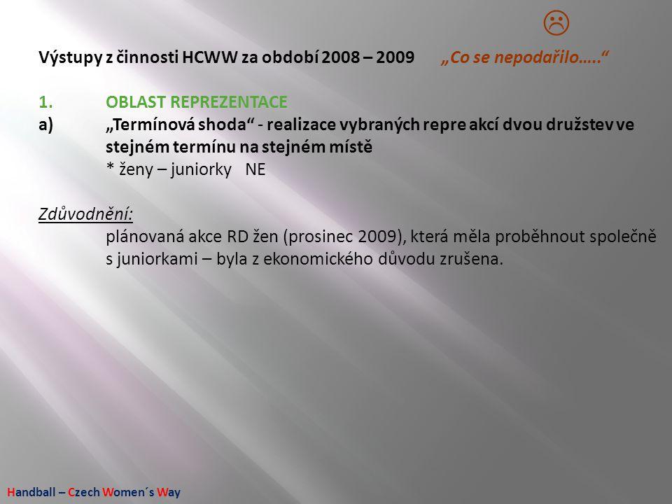 """Handball – Czech Women´s Way Výstupy z činnosti HCWW za období 2008 – 2009 """"Co se nepodařilo….."""" 1.OBLAST REPREZENTACE a)""""Termínová shoda"""" - realizace"""