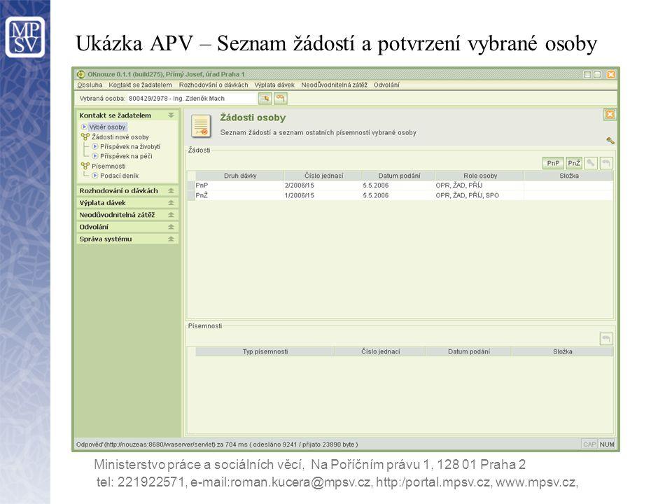 Ukázka APV – Seznam žádostí a potvrzení vybrané osoby Ministerstvo práce a sociálních věcí, Na Poříčním právu 1, 128 01 Praha 2 tel: 221922571, e-mail