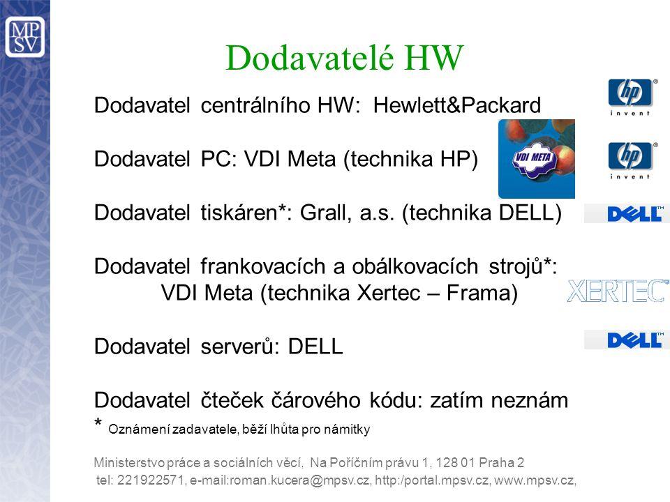 Dodavatelé HW Dodavatel centrálního HW: Hewlett&Packard Dodavatel PC: VDI Meta (technika HP) Dodavatel tiskáren*: Grall, a.s. (technika DELL) Dodavate