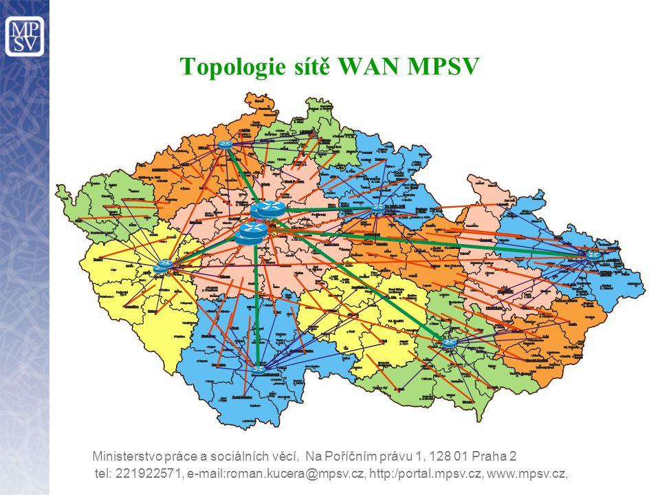 tel: 221922571, e-mail:roman.kucera@mpsv.cz, http:/portal.mpsv.cz, www.mpsv.cz, Ministerstvo práce a sociálních věcí, Na Poříčním právu 1, 128 01 Praha 2 Topologie sítě WAN MPSV