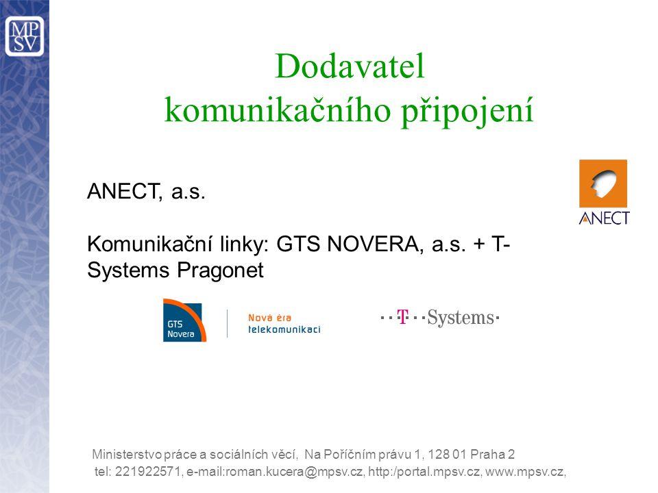 Dodavatel komunikačního připojení ANECT, a.s. Komunikační linky: GTS NOVERA, a.s. + T- Systems Pragonet Ministerstvo práce a sociálních věcí, Na Poříč
