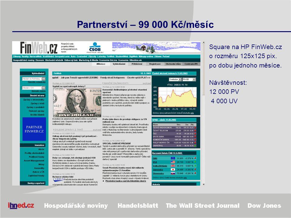 Partnerství – 99 000 Kč/měsíc Square na HP FinWeb.cz o rozměru 125x125 pix. po dobu jednoho měsíce. Návštěvnost: 12 000 PV 4 000 UV