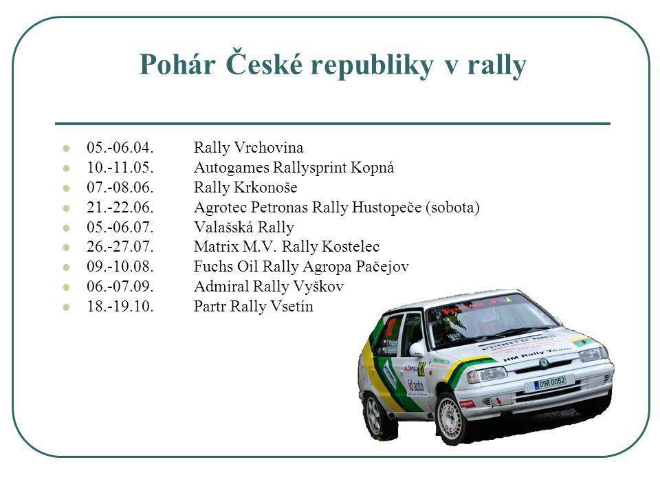 Pohár České republiky v rally 05.-06.04.Rally Vrchovina 10.-11.05.Autogames Rallysprint Kopná 07.-08.06.Rally Krkonoše 21.-22.06.Agrotec Petronas Rall