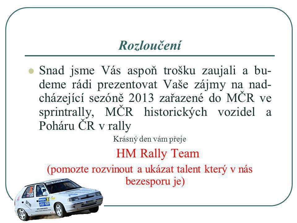 Rozloučení Snad jsme Vás aspoň trošku zaujali a bu- deme rádi prezentovat Vaše zájmy na nad- cházející sezóně 2013 zařazené do MČR ve sprintrally, MČR