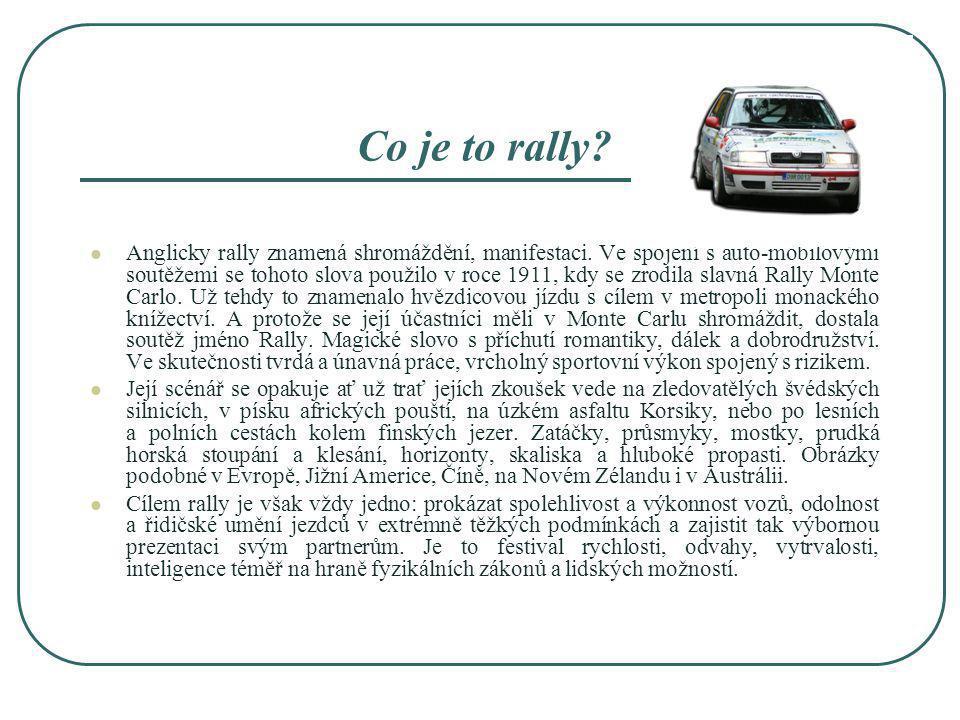 Co je to rally? Anglicky rally znamená shromáždění, manifestaci. Ve spojení s auto-mobilovými soutěžemi se tohoto slova použilo v roce 1911, kdy se zr