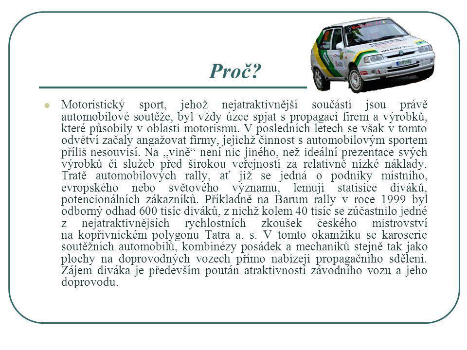 Proč? Motoristický sport, jehož nejatraktivnější součástí jsou právě automobilové soutěže, byl vždy úzce spjat s propagací firem a výrobků, které půso