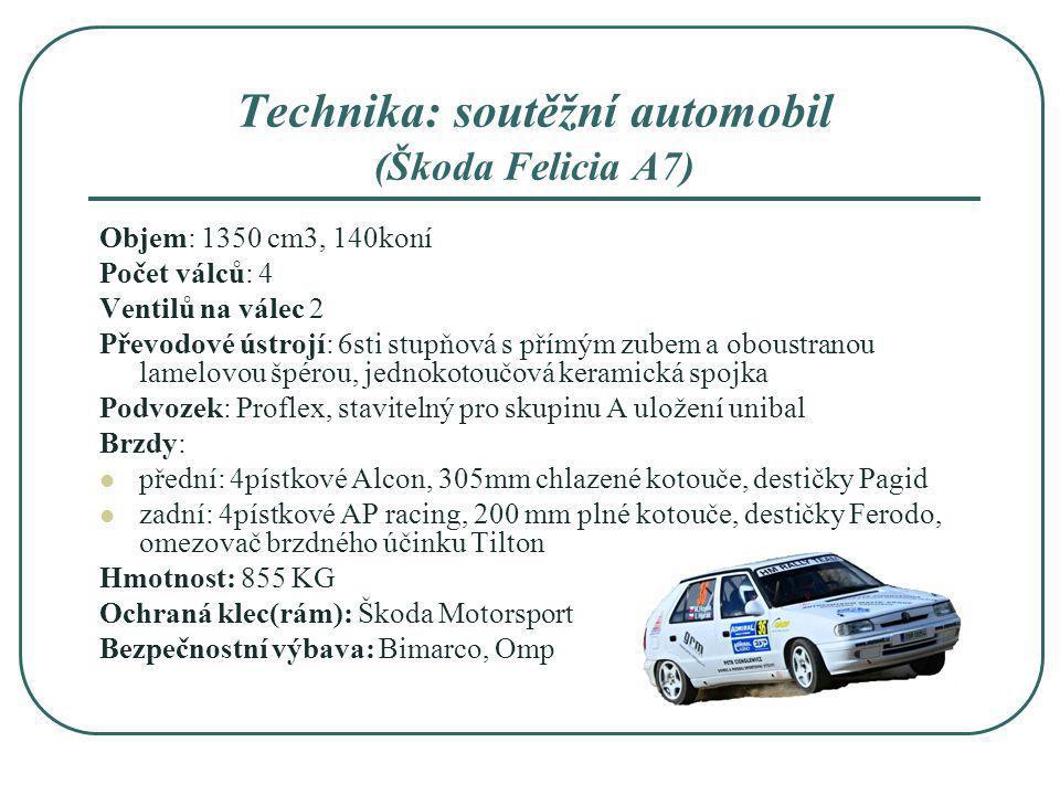 Technika: soutěžní automobil (Škoda Felicia A7) Objem: 1350 cm3, 140koní Počet válců: 4 Ventilů na válec 2 Převodové ústrojí: 6sti stupňová s přímým z