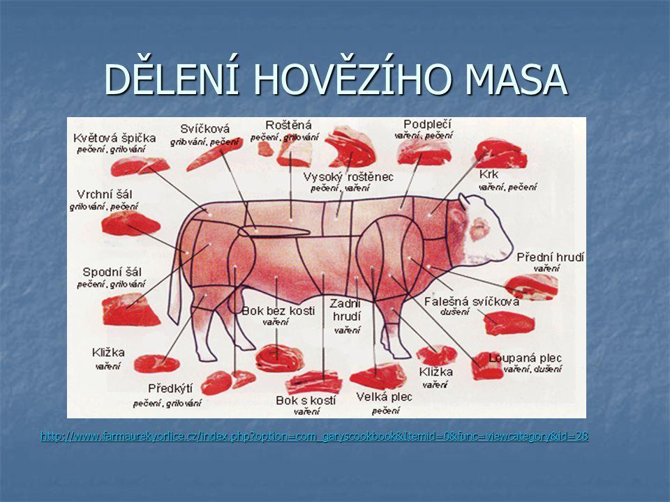 DĚLENÍ HOVĚZÍHO MASA http://www.farmaurekyorlice.cz/index.php?option=com_garyscookbook&Itemid=0&func=viewcategory&id=28