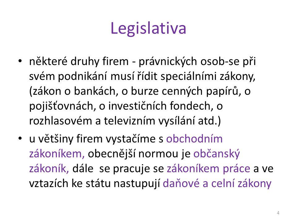 Legislativa některé druhy firem - právnických osob-se při svém podnikání musí řídit speciálními zákony, (zákon o bankách, o burze cenných papírů, o pojišťovnách, o investičních fondech, o rozhlasovém a televizním vysílání atd.) u většiny firem vystačíme s obchodním zákoníkem, obecnější normou je občanský zákoník, dále se pracuje se zákoníkem práce a ve vztazích ke státu nastupují daňové a celní zákony 4