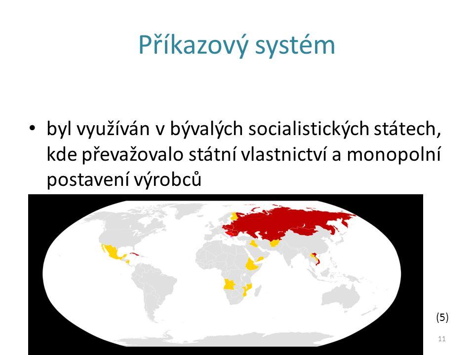 Příkazový systém byl využíván v bývalých socialistických státech, kde převažovalo státní vlastnictví a monopolní postavení výrobců 11 (5)