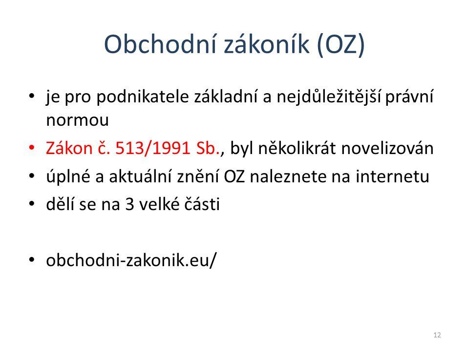 Obchodní zákoník (OZ) je pro podnikatele základní a nejdůležitější právní normou Zákon č.