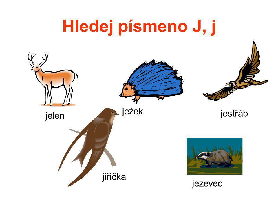 Hledej písmeno J, j jelen ježek jiřička jezevec jestřáb