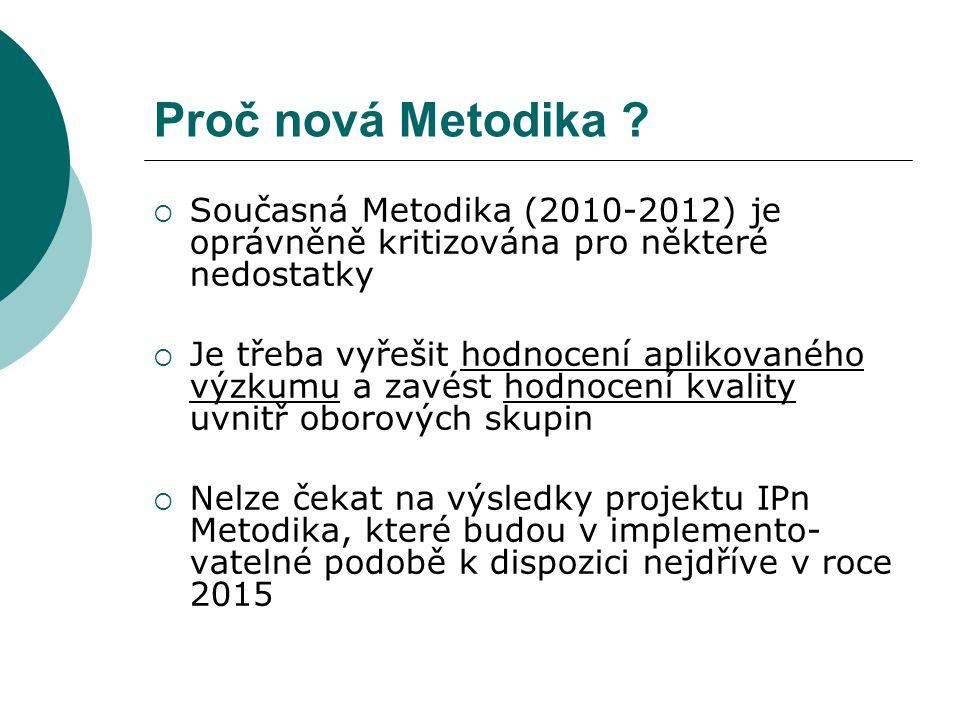 Proč nová Metodika ?  Současná Metodika (2010-2012) je oprávněně kritizována pro některé nedostatky  Je třeba vyřešit hodnocení aplikovaného výzkumu