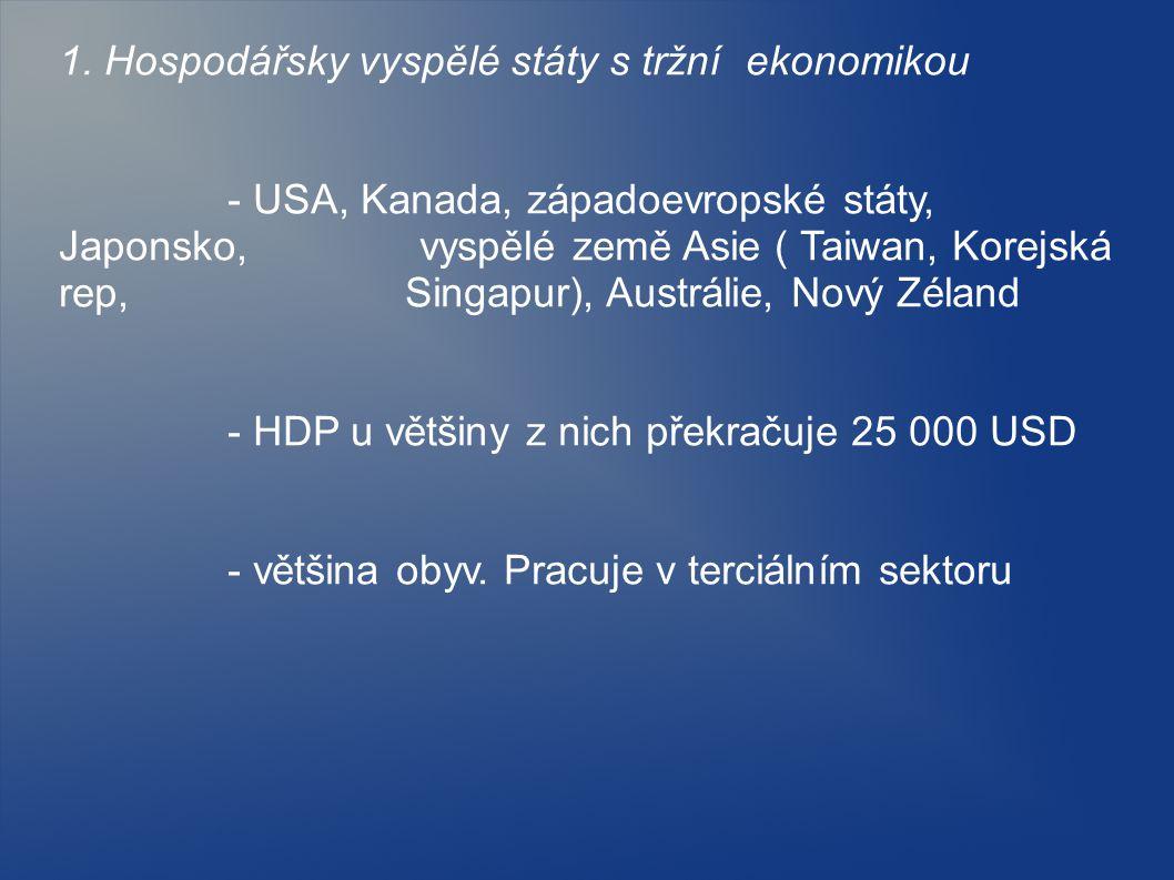 1. Hospodářsky vyspělé státy s tržní ekonomikou - USA, Kanada, západoevropské státy, Japonsko, vyspělé země Asie ( Taiwan, Korejská rep, Singapur), Au
